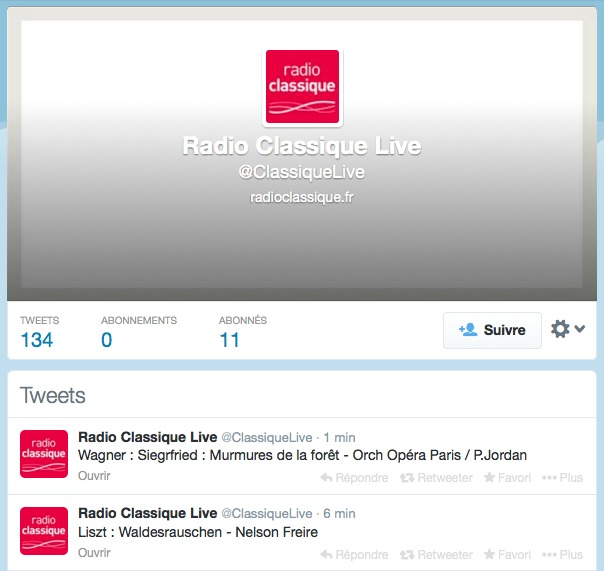 Radio Classique lance @ClassiqueLive