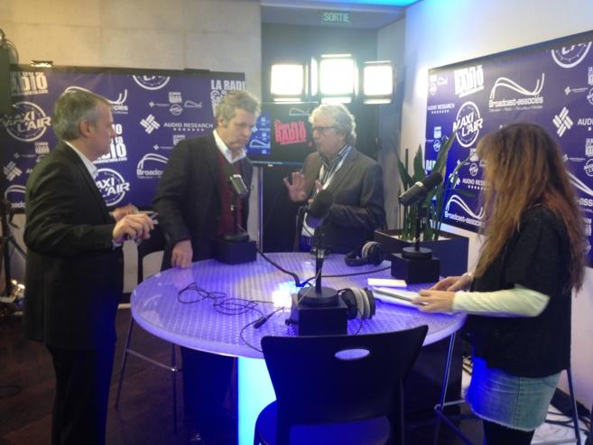 Yann Oger, Sylvain Lafrance et Guy Banville qui ont participé à la thématique dédiée au Québec lors du Salon de la Radio 2014