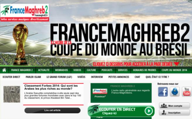 Pour ce Mondial, le site web de France Maghreb 2 a été habillé aux couleurs des Bleus et des Fennecs
