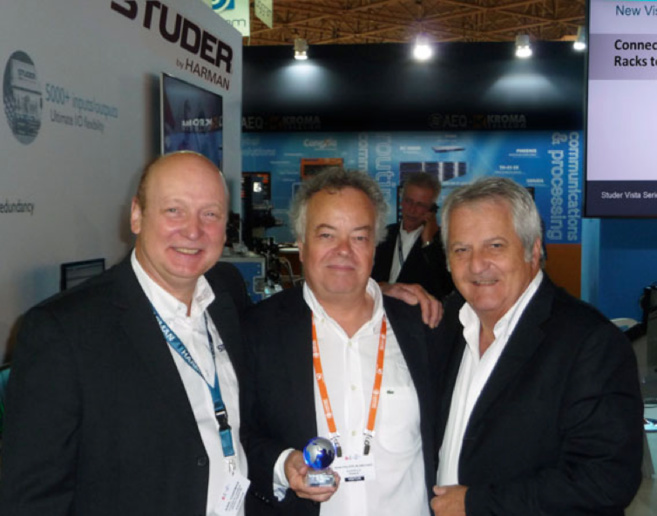 Karl Chapman, Directeur Commercial Europe Studer, Jean-Philippe Blanchard, Directeur Division Broadcast Audiopole, Bruno Hochstrasser, Président d'honneur Studer