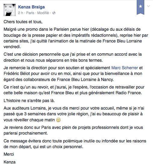 Kenza Braiga quitte, déjà, France Bleu