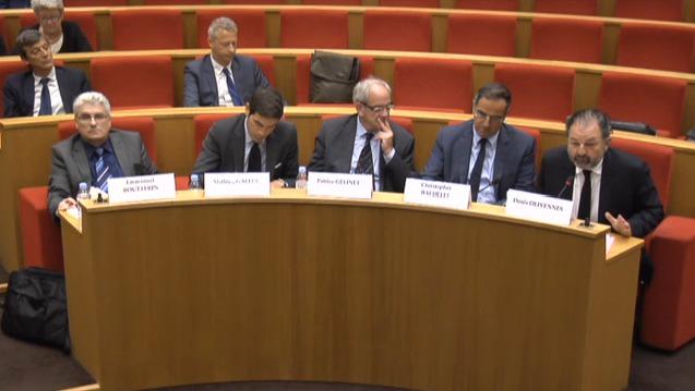 Emmanuel Boutterin (SNRL), Mathieu Gallet (Radio France), Patrice Gélinet (CSA), Christopher Baldelli (RTL Group) et Denis Olivennes (Lagardère Active) © Sénat