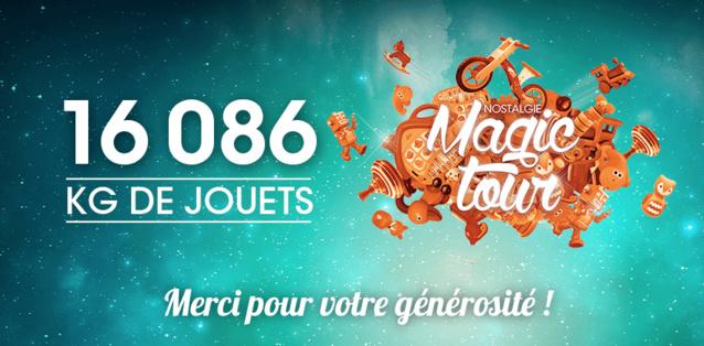 """Samedi dernier, la ville de Nivelles a clôturé la tournée en beauté, avec 4 772kg de jouets et 836kg de piles récoltés pour la dernière étape du """"Nostalgie Magic Tour"""""""