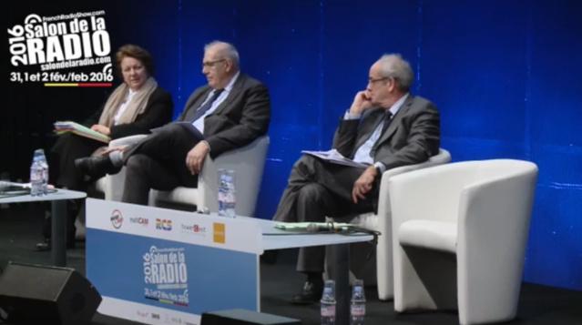 Francine Mariani-Ducray, Nicolas Curien et Patrice Gélinet au Salon de la Radio
