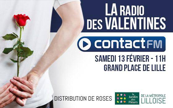 Contact FM : distribution de roses à Lille