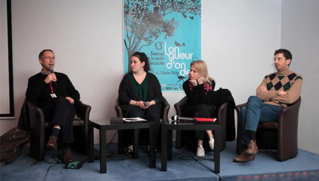 Christophe Deleu à gauche, Aude Dassonville au centre, Étienne Noiseau à droite. © Sébastien Durand