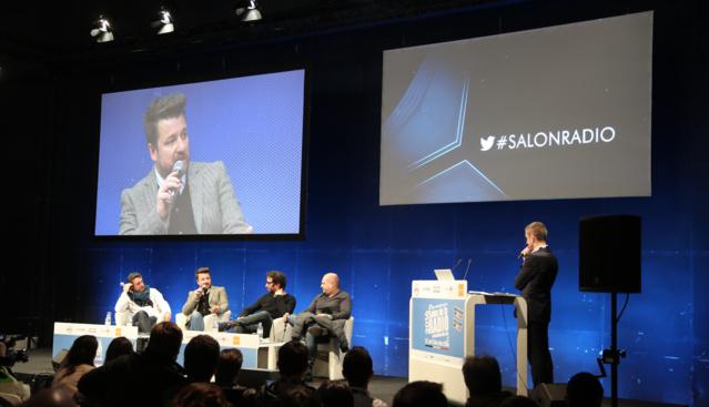 Pascal Gigot (Rire & Chansons), Bruno Guillon (Fun Radio), Manu Levy (NRJ) et Cauet (NRJ) exceptionnellement réunis au Salon de la Radio. @ Serge Surpin