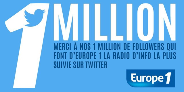 Un million de followers pour Europe 1