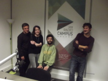 Mathieu Audebeau (directeur), Lucie Cotineau (coordinatrice antenne), Étienne Devêche (programmateur), Pierre-Louis Leseul (rédaction). © Fabien Gonzalez