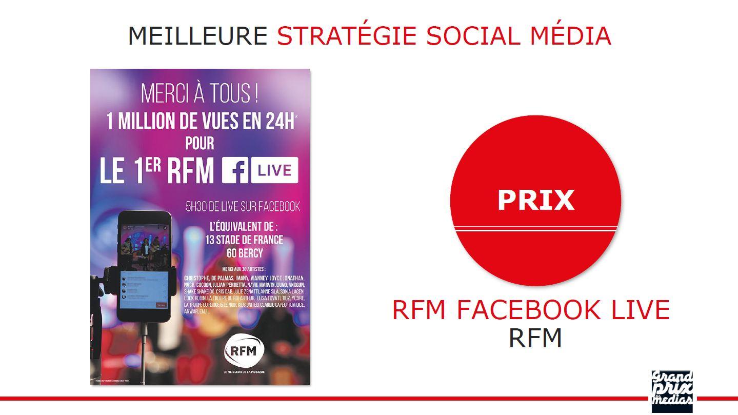 """RFM reçoit le Prix de la """"Meilleure Stratégie Social Média"""""""