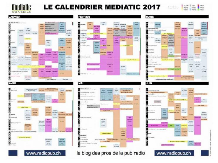 Le calendrier Mediatic 2017 est paru