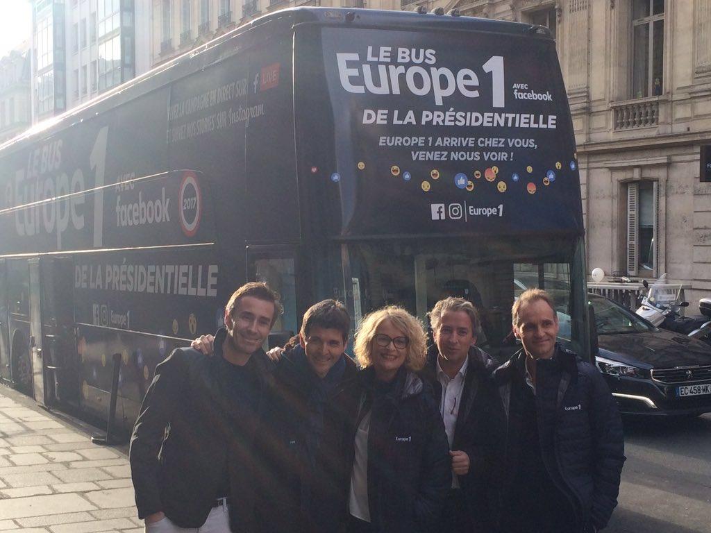 La semaine dernière,  Europe 1 a lancé Le Bus Europe 1 de la présidentielle avec Facebook © Twitter Presse Europe 1