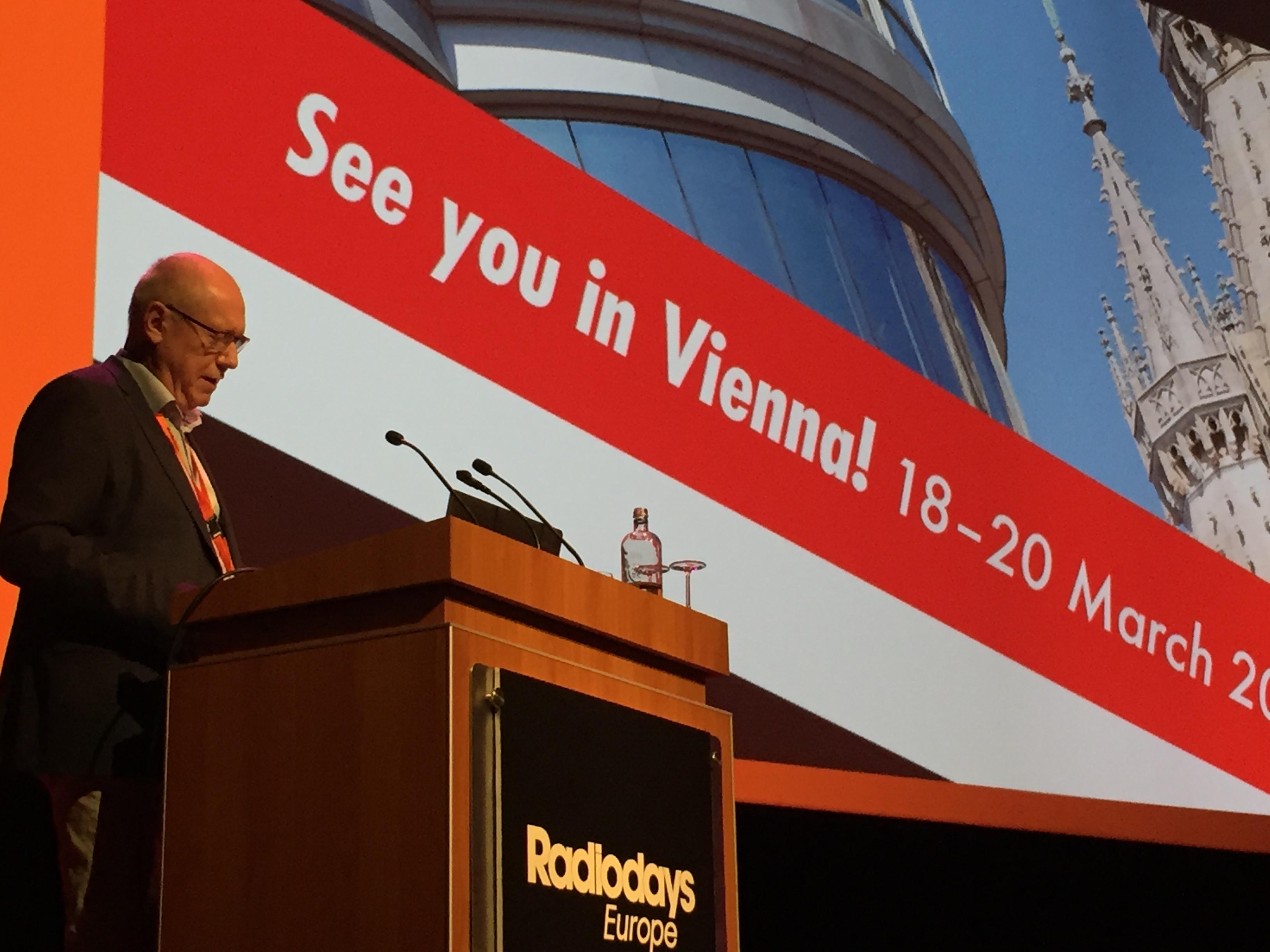 Pour conclure l'édition 2017, Anders Held le co-fondateur des Radiodays, a dévoilé cet après-midi le nom de la prochaine capitale qui accueillera les Radiodays Europe en 2018 © Philippe Chapot
