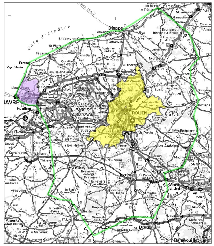Contour des allotissements susceptibles d'être mis en appel (en vert contour de l'allotissement étendu de Rouen, en jaune allotissements locaux de Rouen et en mauve allotissement local du Havre)