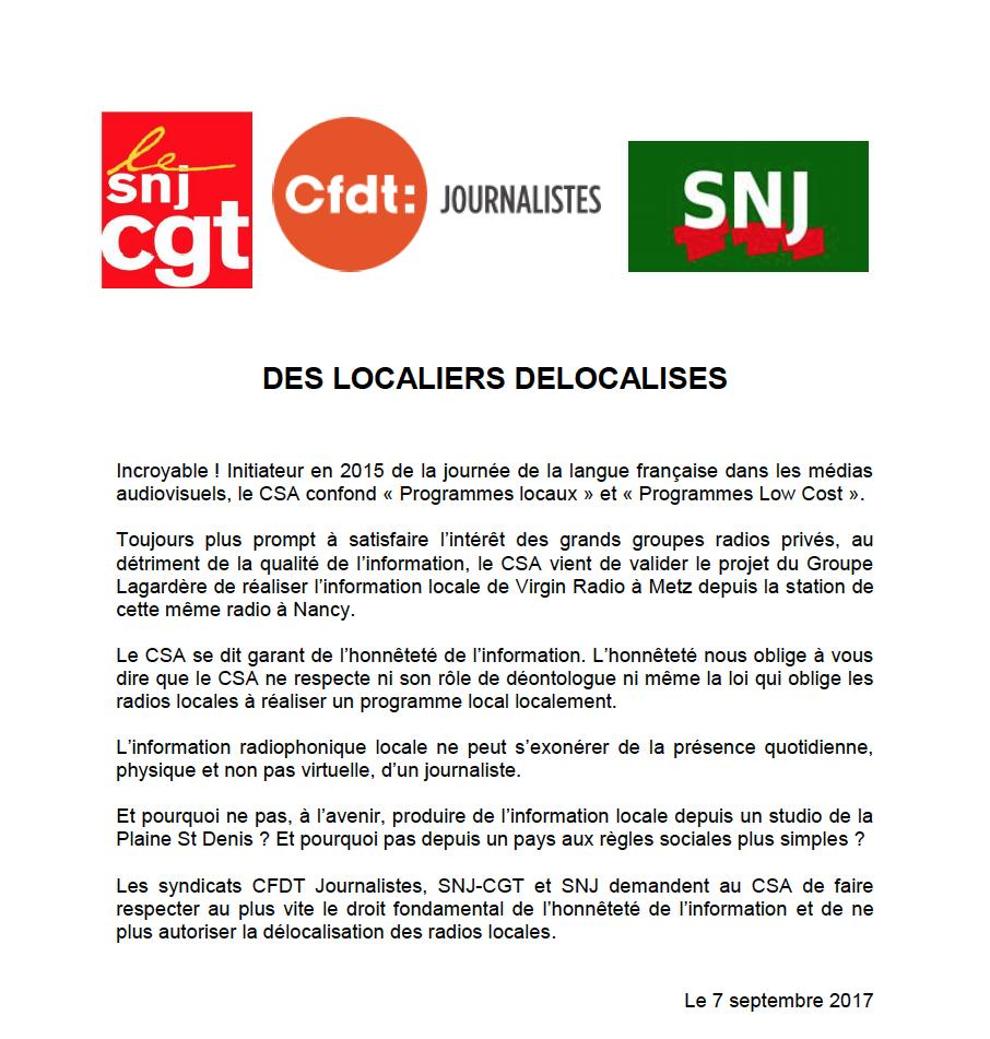 """Virgin Radio : """"Des localiers délocalisés"""" selon les syndicats"""