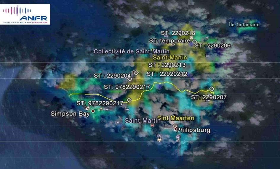Les couvertures sont déclinées suivant le réseau 2G /3G/UMTS (900, 1 900 et 2 100 MHz) et suivant le  réseau 4G (800,1 800 et 2 600MHz)  Selon les informations à notre disposition l'île de  St-Martin dispose en temps normal d'un réseau de  18 stations en service et 11 pour l'île de Saint-Ba rthélemy.