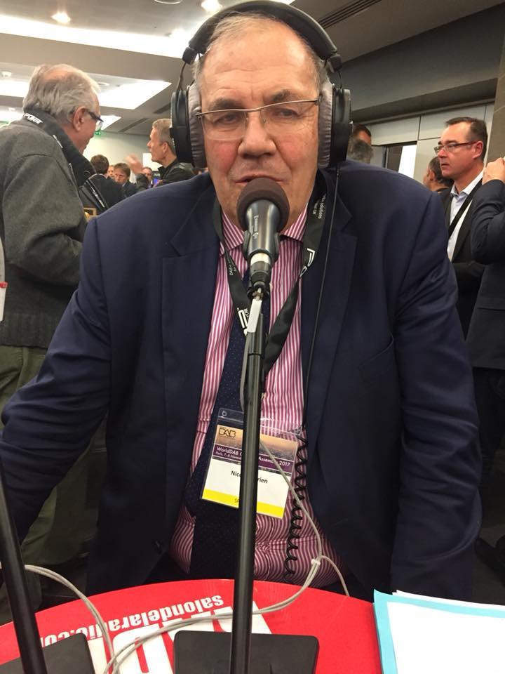Nicolas Curien, cet après-midi, sur le stand de La Lettre Pro de la Radio lors de l'Assemblée générale du WorldDAB