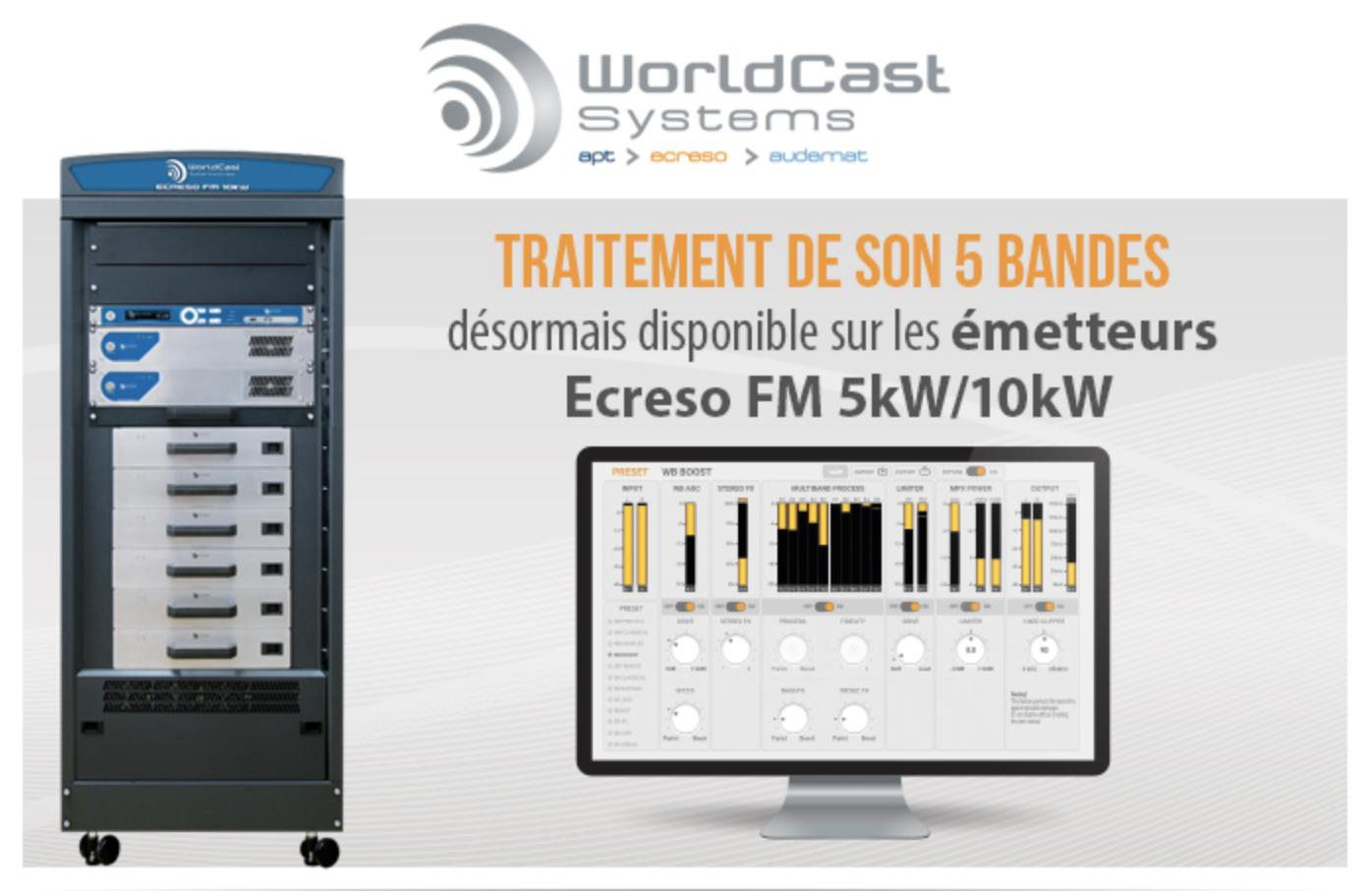 Un traitement de son 5 bandes intégré sur l'Ecreso FM 5kW/10kW
