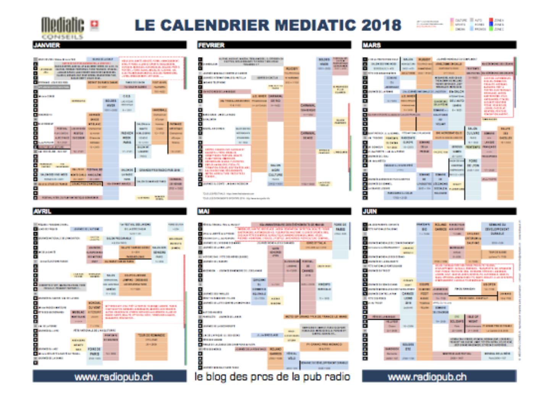 Le calendrier Mediatic 2018 est paru