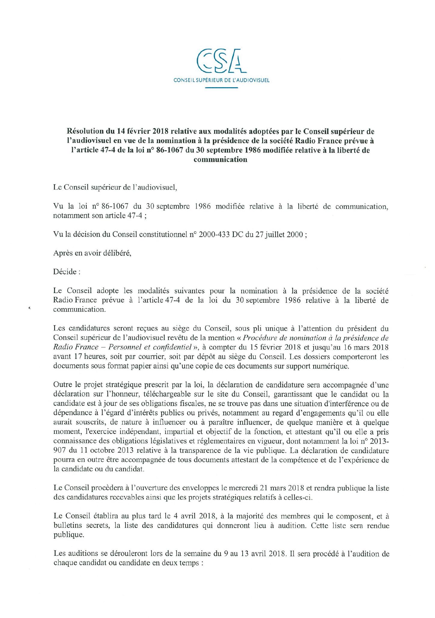 Un nouveau président à Radio France avant le 14 avril