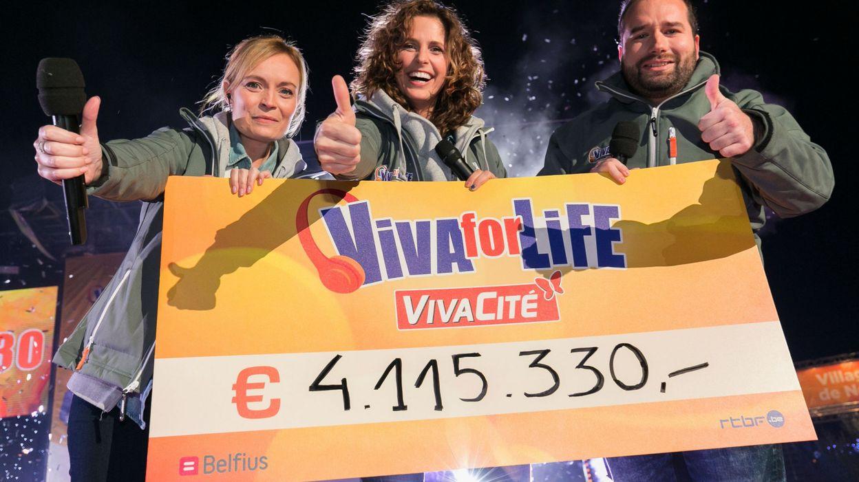 Portée par VivaCité (RTBF), la cinquième édition de Viva for Life s'est refermée à Nivelles avec un nouveau record  : 4 115 330€ ont été récoltés pour l'enfance en pauvreté  © Martin Godfroid