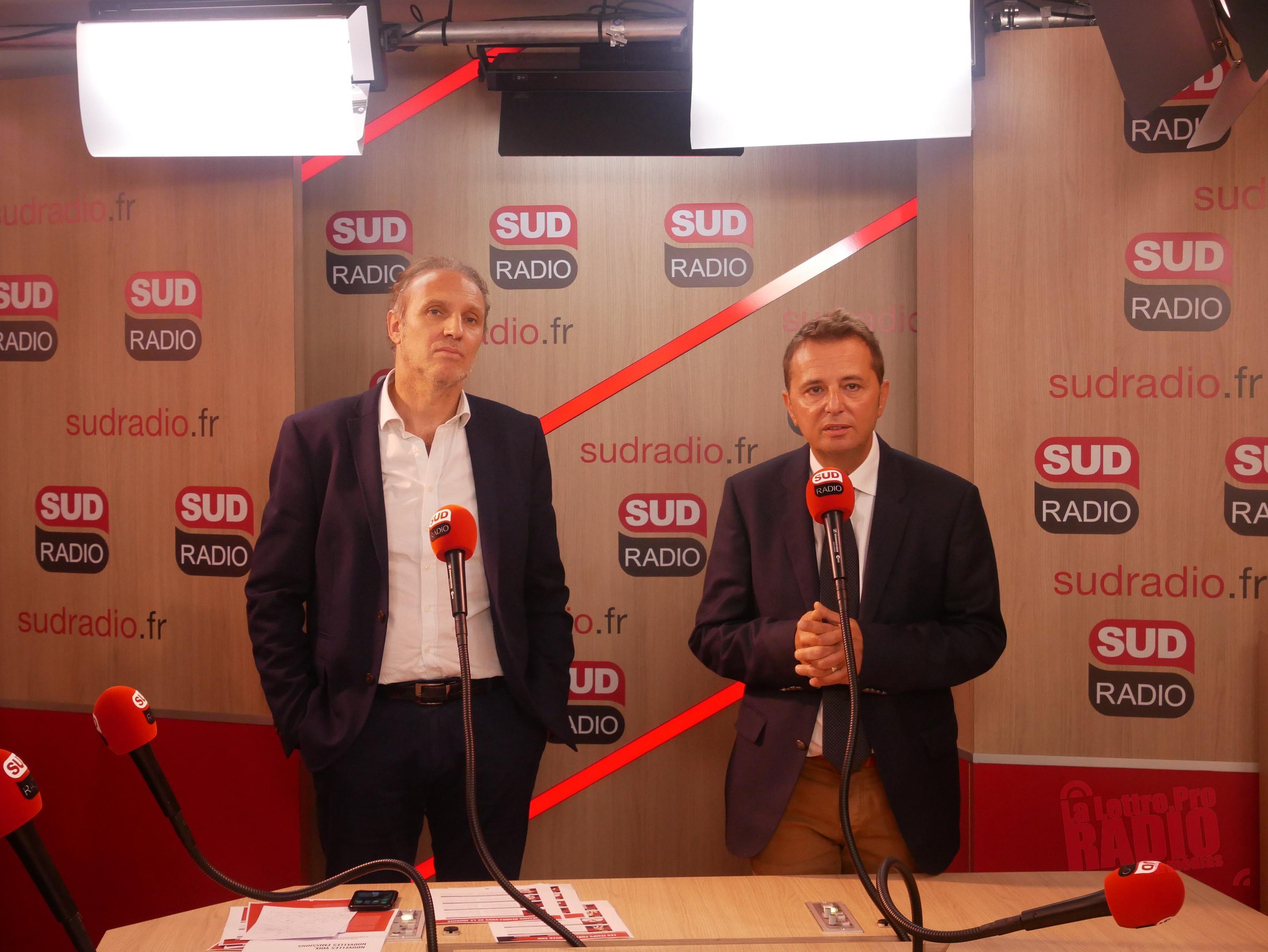 Patrick Roger, directeur de Sud Radio et Didier Maïsto, président de Fiducial Medias / Photo François Quairel