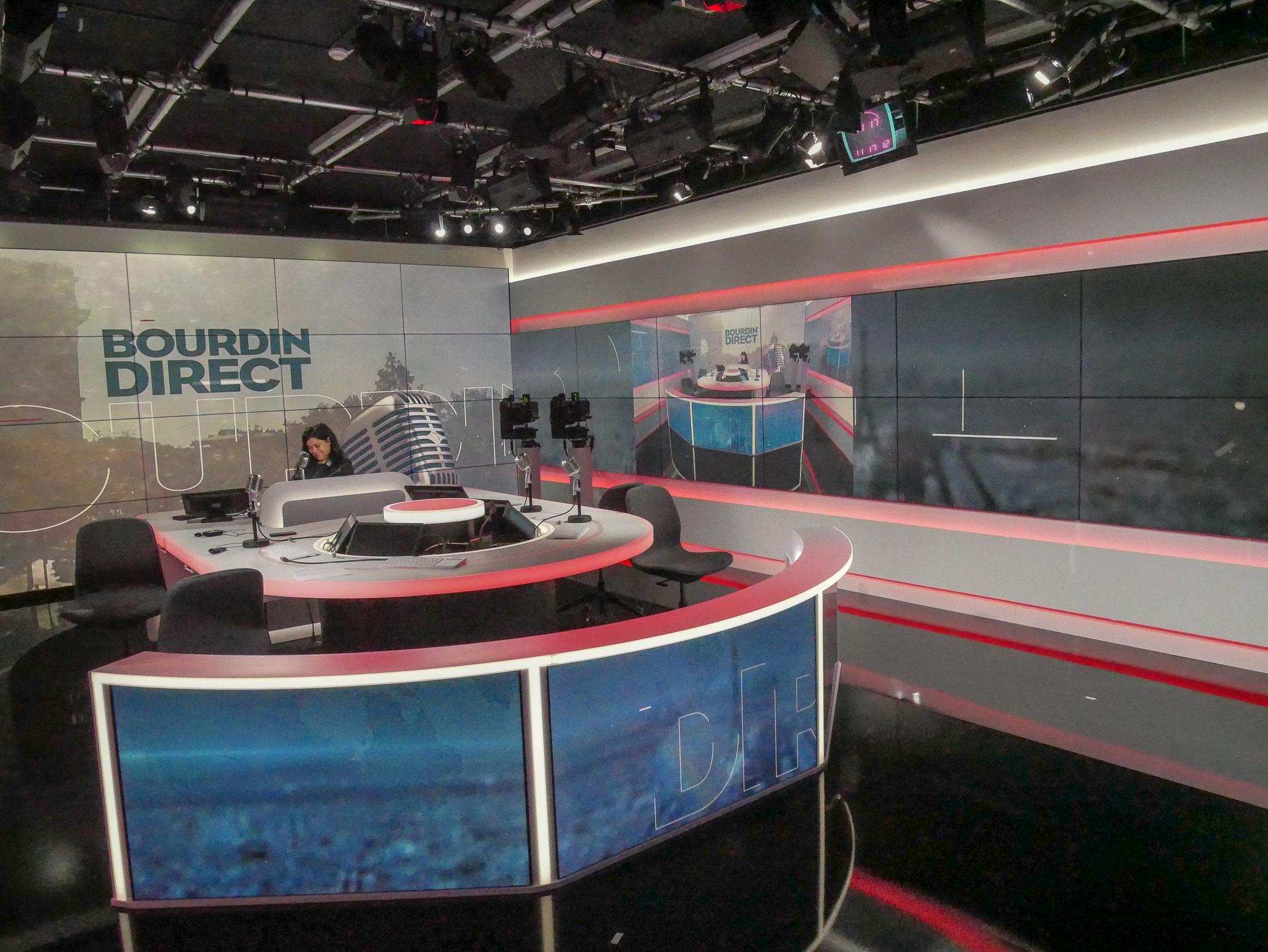 Le studio de Bourdin Direct et de Maïtena Biraben sur RMC / Photo François Quairel