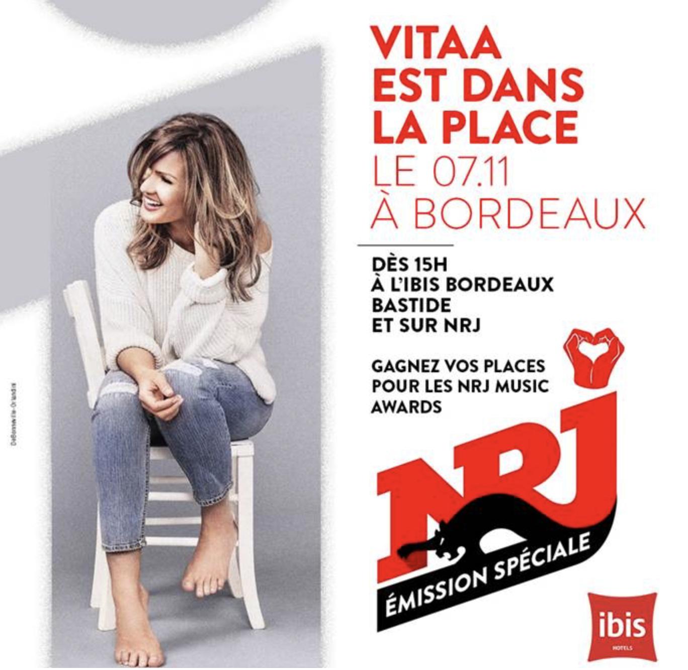 Vitaa en concert avec NRJ à Bordeaux