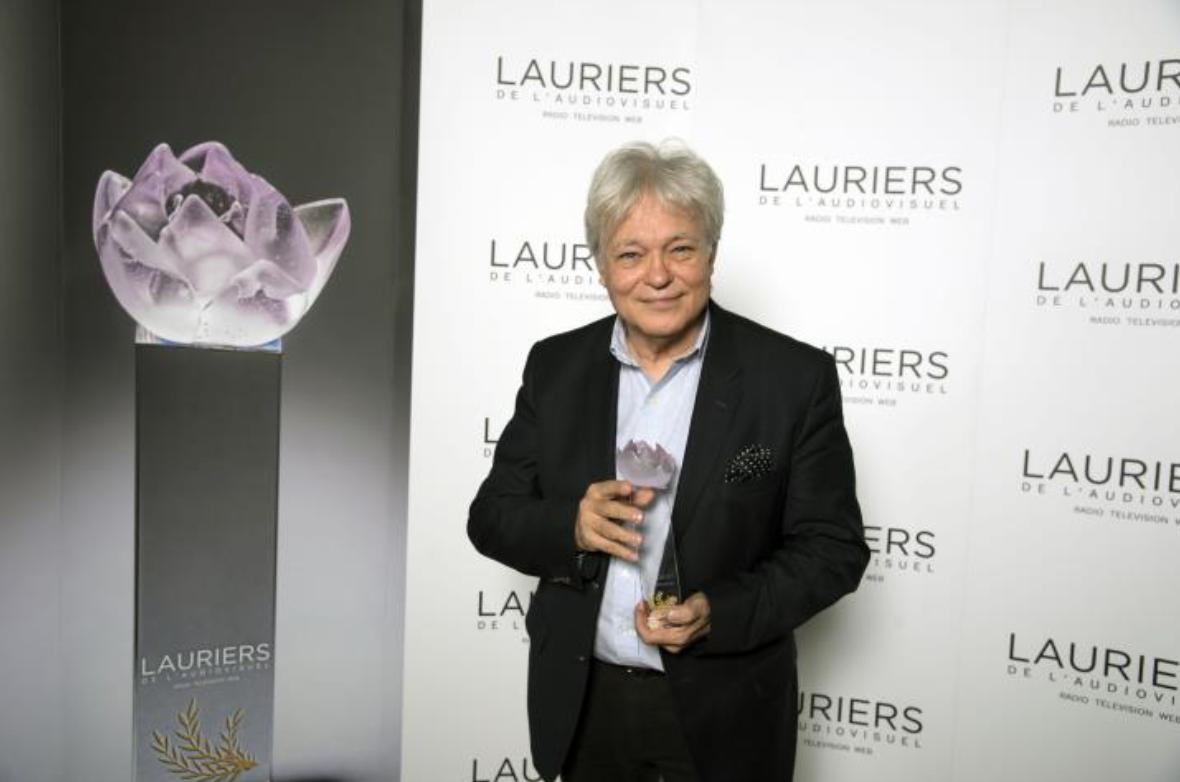Georges Lang, hier soir, au Théâtre Marigny, lors de la cérémonie des Lauriers d'Or de la télévision et de la radio