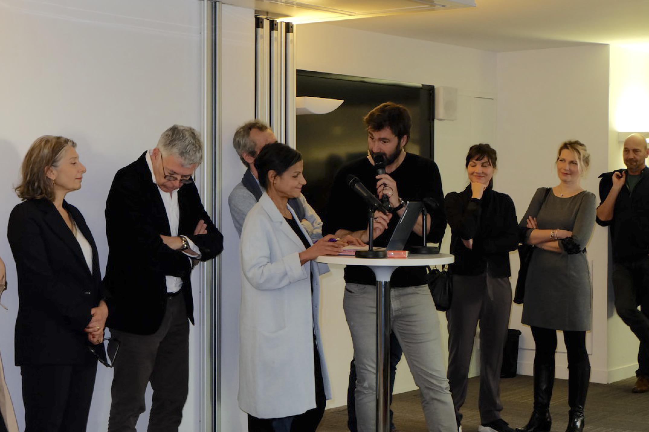 De gauche à droite: Sophie Perrot-Krikorian; Manuel Houssais (CPNEF-AV); Christophe Pauly (CPNEF-AV); Kheira Berger (ina); Eric Jean-Jean (RTL); Nuria Paolini et Marta Lehnen (CPNEF-AV) et Eric Lange