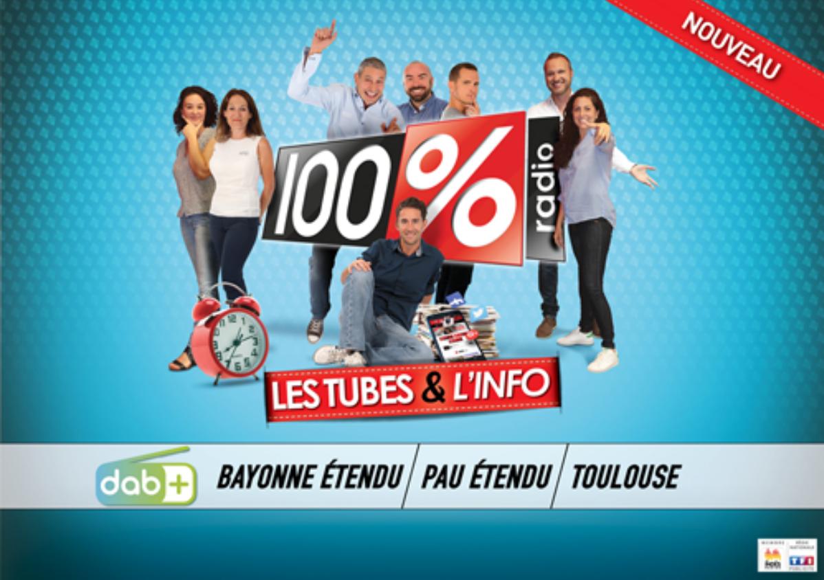 Six allotissements en DAB+ pour la radio 100%