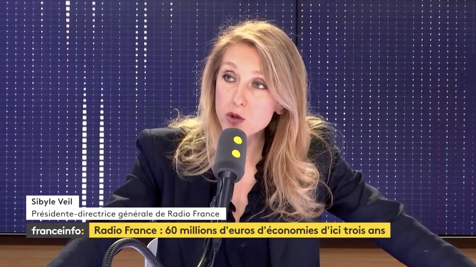"""""""Ceux qui aiment les contenus de Radio France peuvent les écouter sur l'application Radio Franc"""" a rappelé Sibyle Veil."""