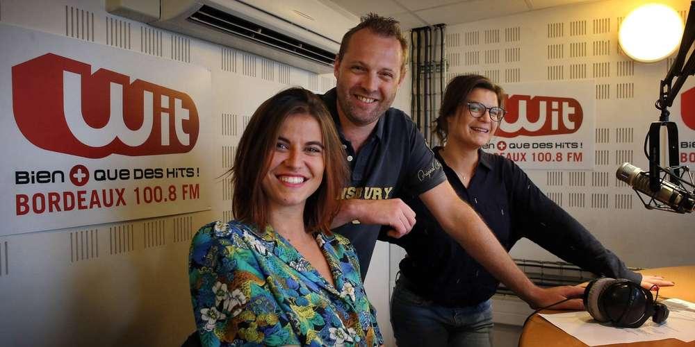 Chaque matin, Bérénice, Ludo et Diane Charbonnel (infos) réveillent la Gironde, sur Wit FM. © D.R.