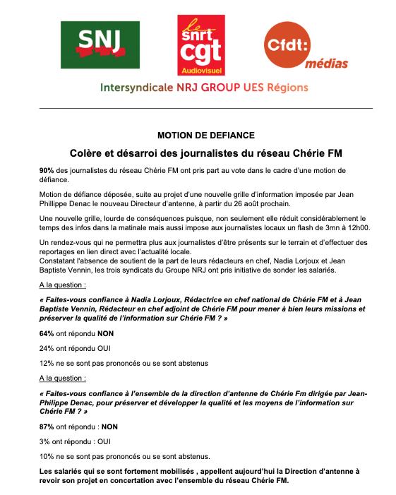 Les journalistes de Chérie FM votent une motion de défiance