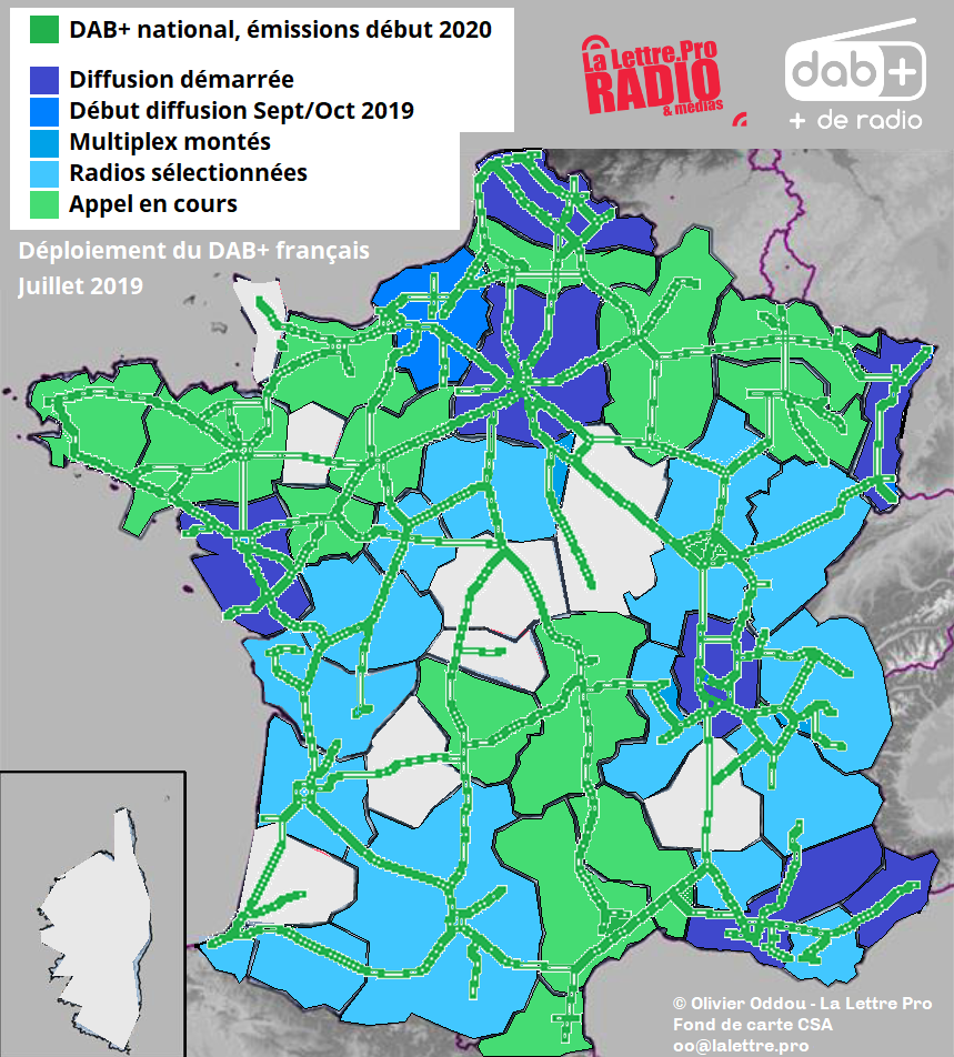Statut actuel du déploiement du DAB+ en France