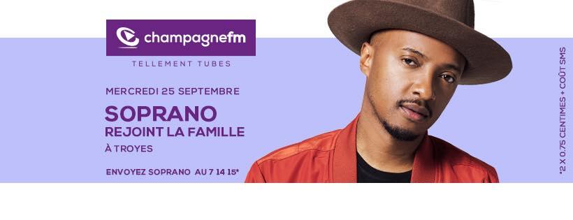 Champagne FM invite le chanteur Soprano