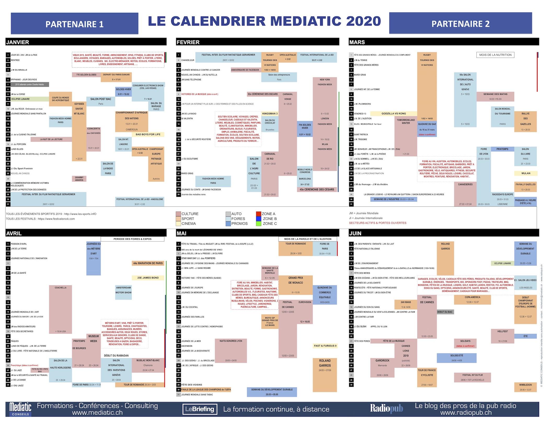 Devenez le partenaire exclusif du calendrier Mediatic 2020
