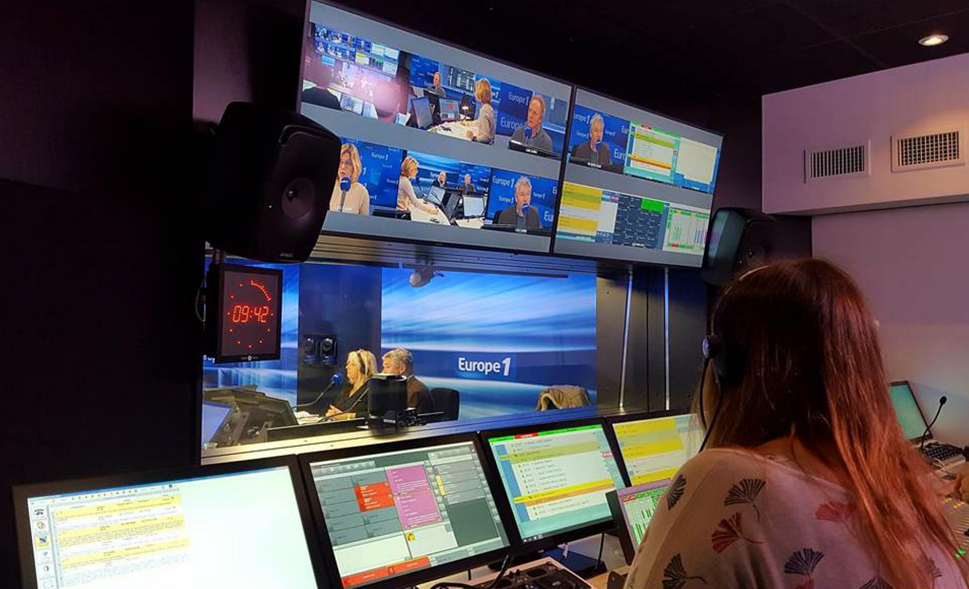 Utilisation de Broadcast Bionics, gestion des codecs et des appels, dans le studio Lagardère d'Europe 1, lors de l'inauguration du studio en novembre 2018. Photo : Philippe Delépine.