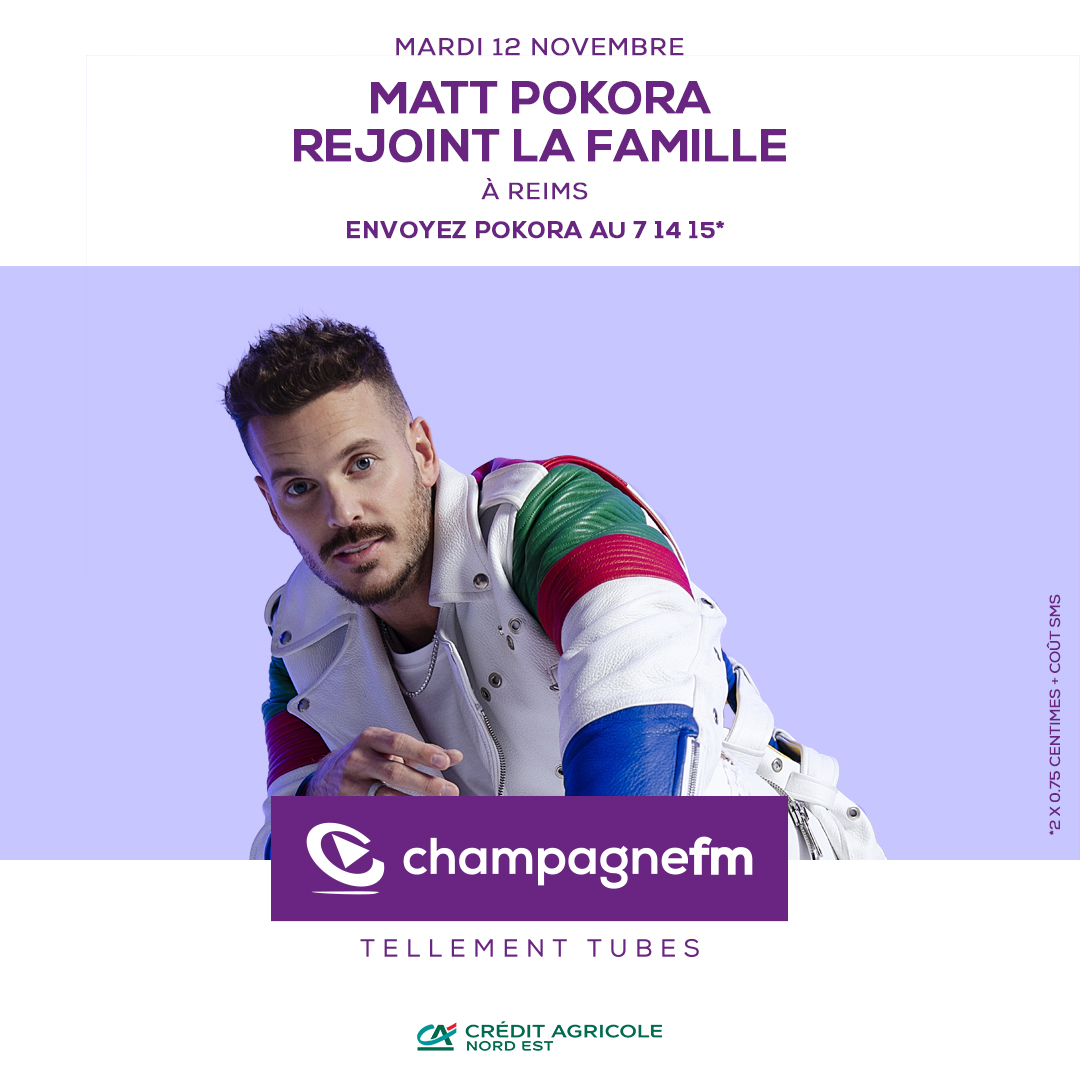 Matt Pokora invité de Champagne FM