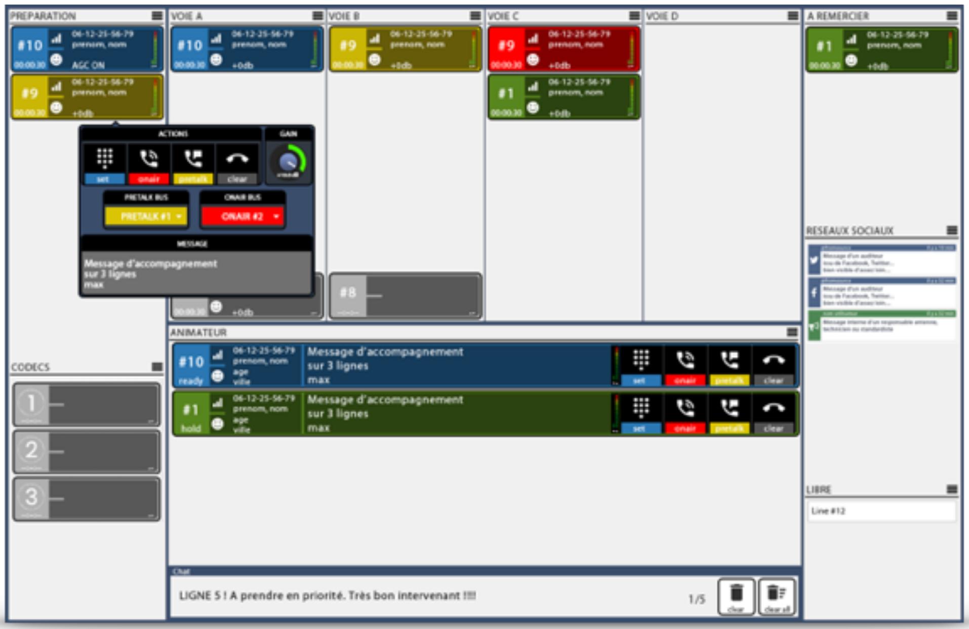 Interface entièrement personnalisable avec gestion des profils animateur, réalisateur...