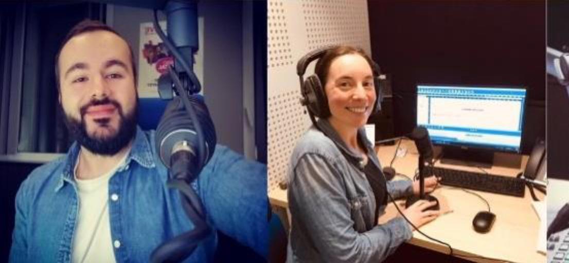 Dimitri (animateur 6h-9h) et Élodie (journaliste)