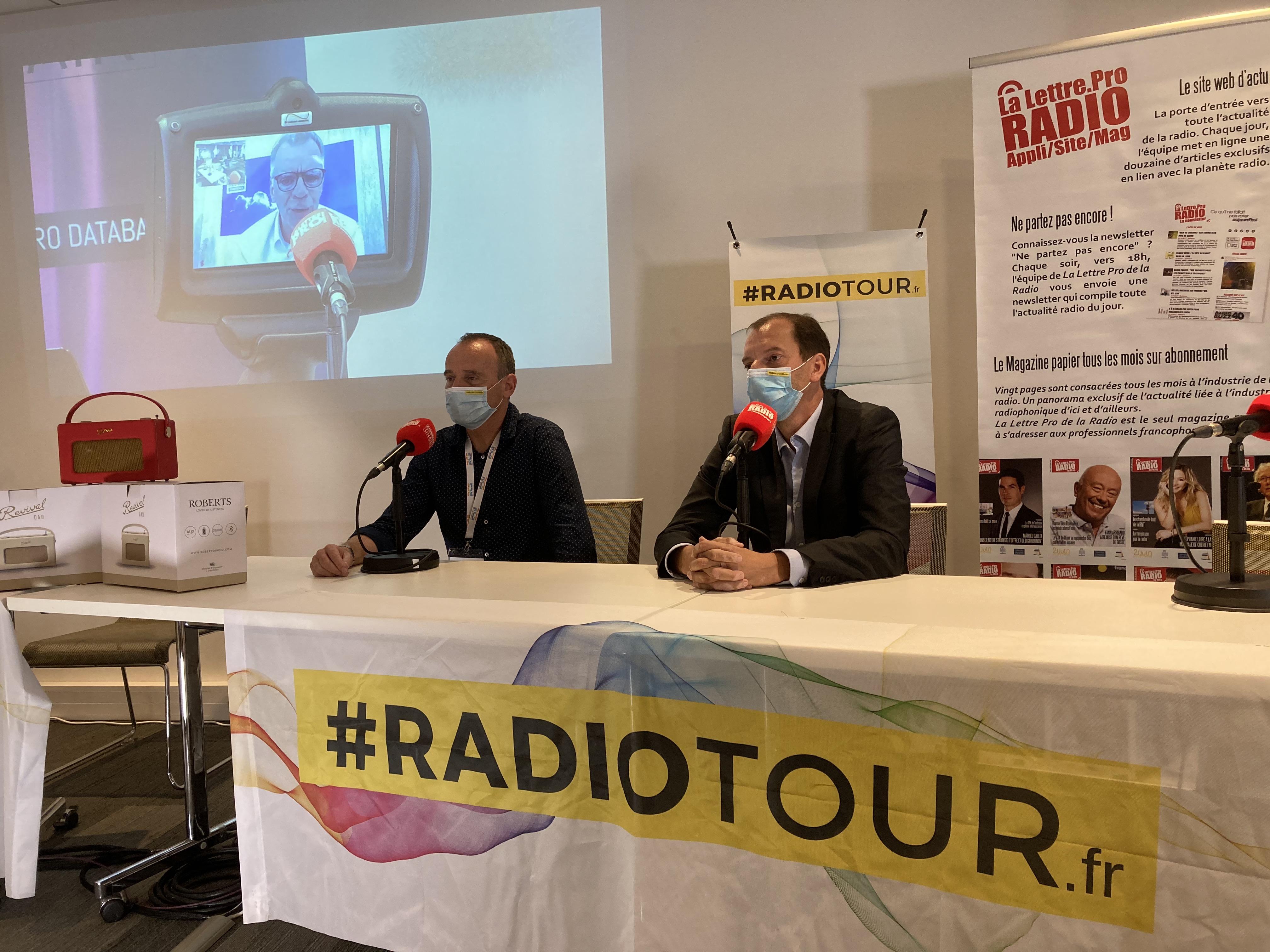 Franck Pelloux (K6FM) à gauche et Christophe Mercier (Vosges FM) à droite, ce matin au RadioTour à Nancy