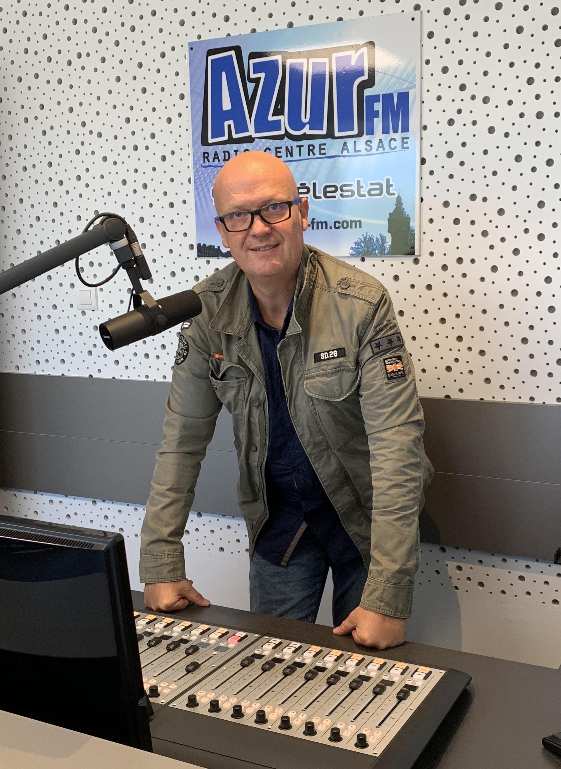 Franck JEHL dans les nouveaux studios d'Azur FM