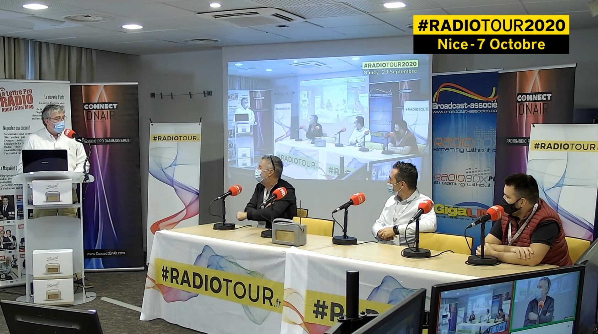 De gauche à droite : Olivier Cordier (Kiss FM), François Galatioto (Radio Emotion) et Benjamin Ducongé (Radio Monaco) réunis à Nice lors de la 3e étape du RadioTour