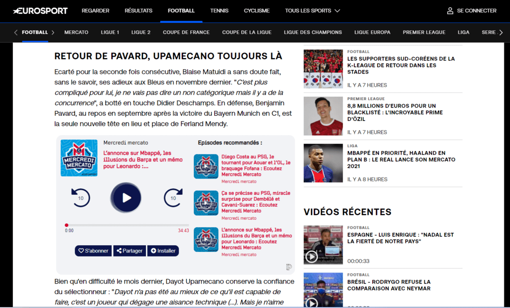 Podinstall installé en embed sur le site d'Eurosport (version : desktop)