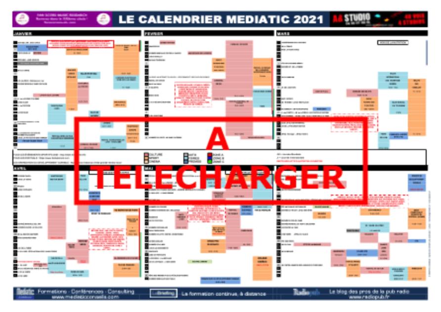 Le Calendrier Mediatic 2021 est disponible