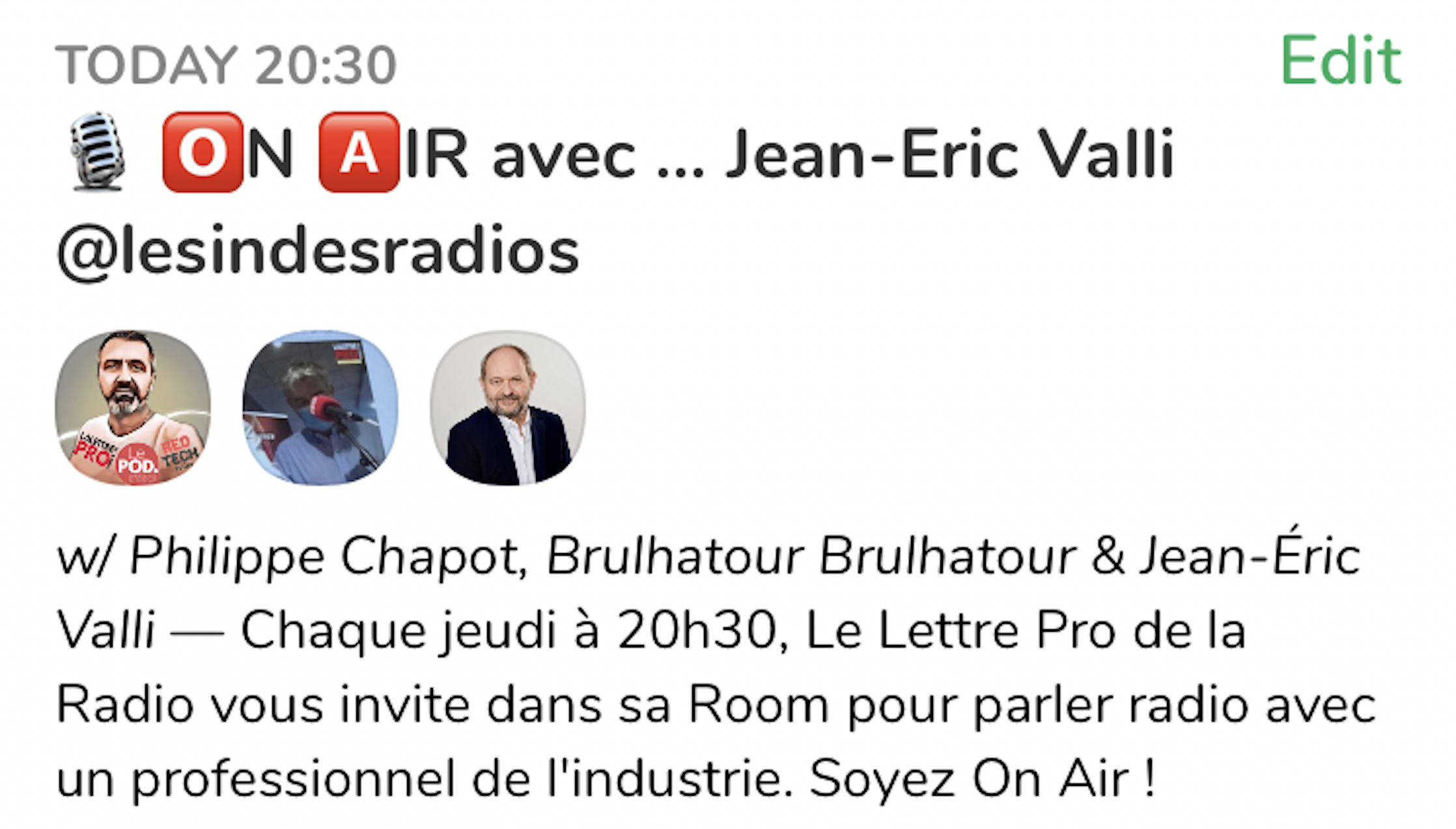 """Jean-Éric Valli invité de """"On Air"""" ce soir sur ClubHouse"""