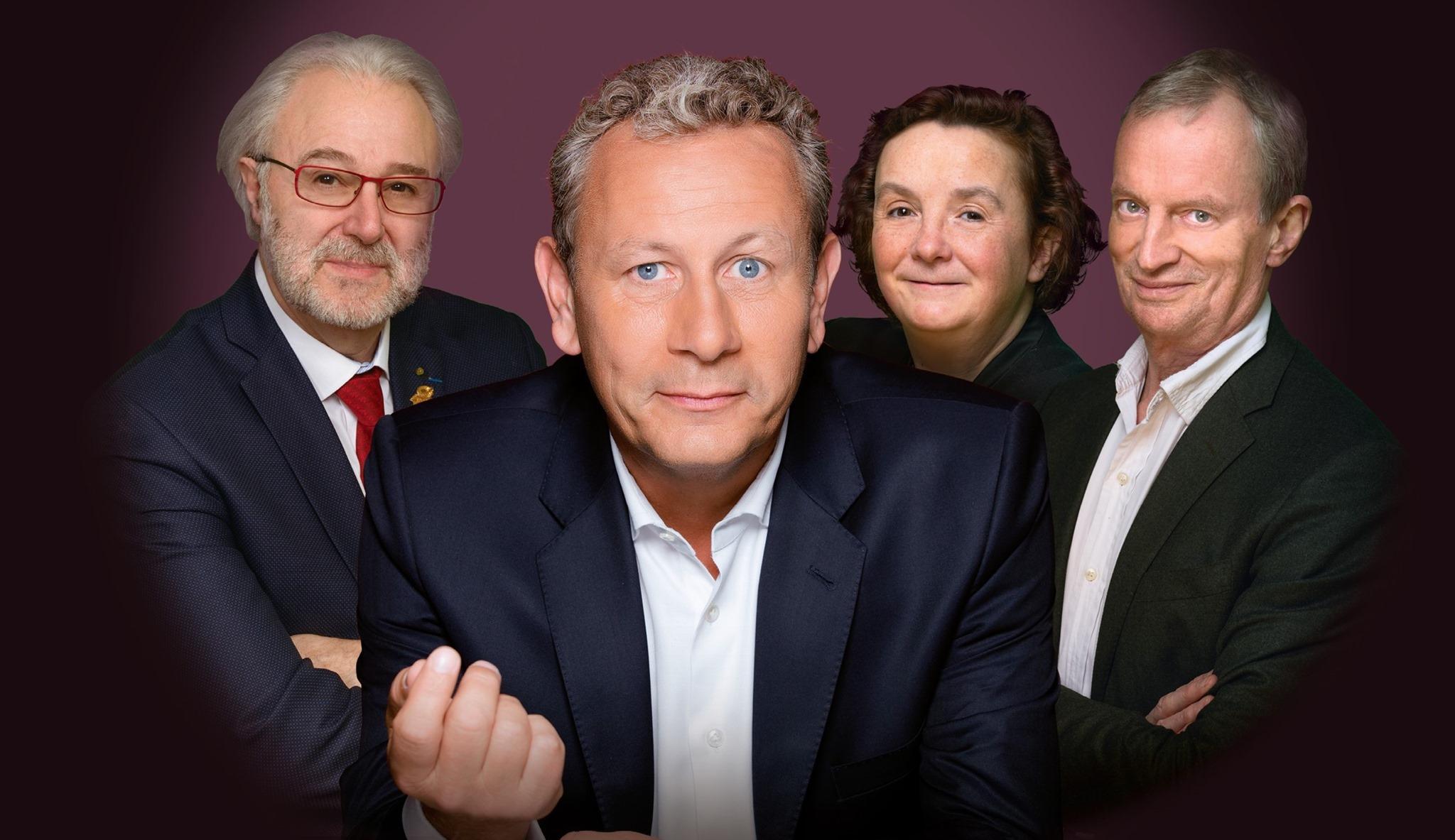 """L'équipe de l'émission """"In vino"""" : (de gauche à droite) Philippe Faure-Brac, Alain Marty, Hélène Piot et David Cobbold, chaque samedi et dimanche à 12h30 sur Sud Radio"""
