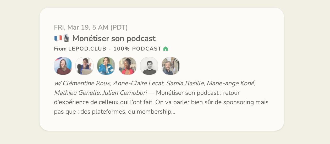 Une room dans le club du POD avec Podcast Marketer