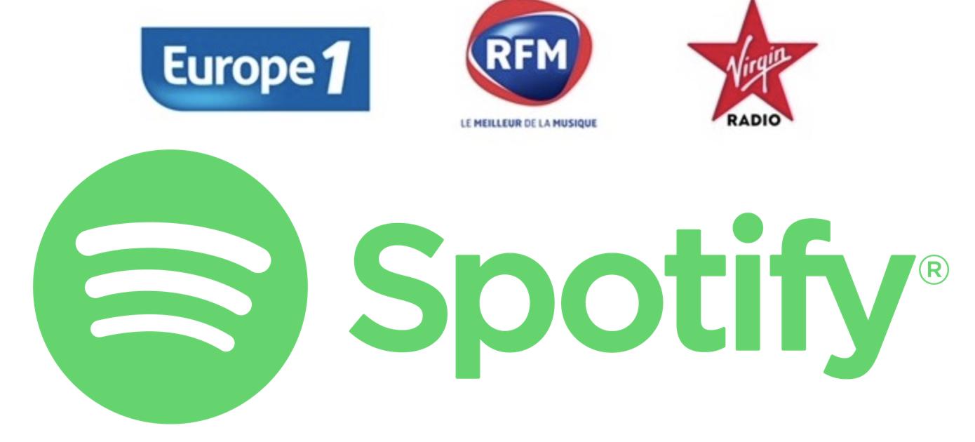 Europe 1, RFM et Virgin Radio concluent un accord avec Spotify